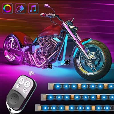 Govee Motorcycle LED Lights Kits, 8pcs Rope Lights with Remote and Control Box, Waterproof RGB Motorcycle Lights with 20 Colors 4 Music Modes, SMD 5050 LEDs Flexible Lights with 3M Adhesives Clips: Automotive [5Bkhe1506883]