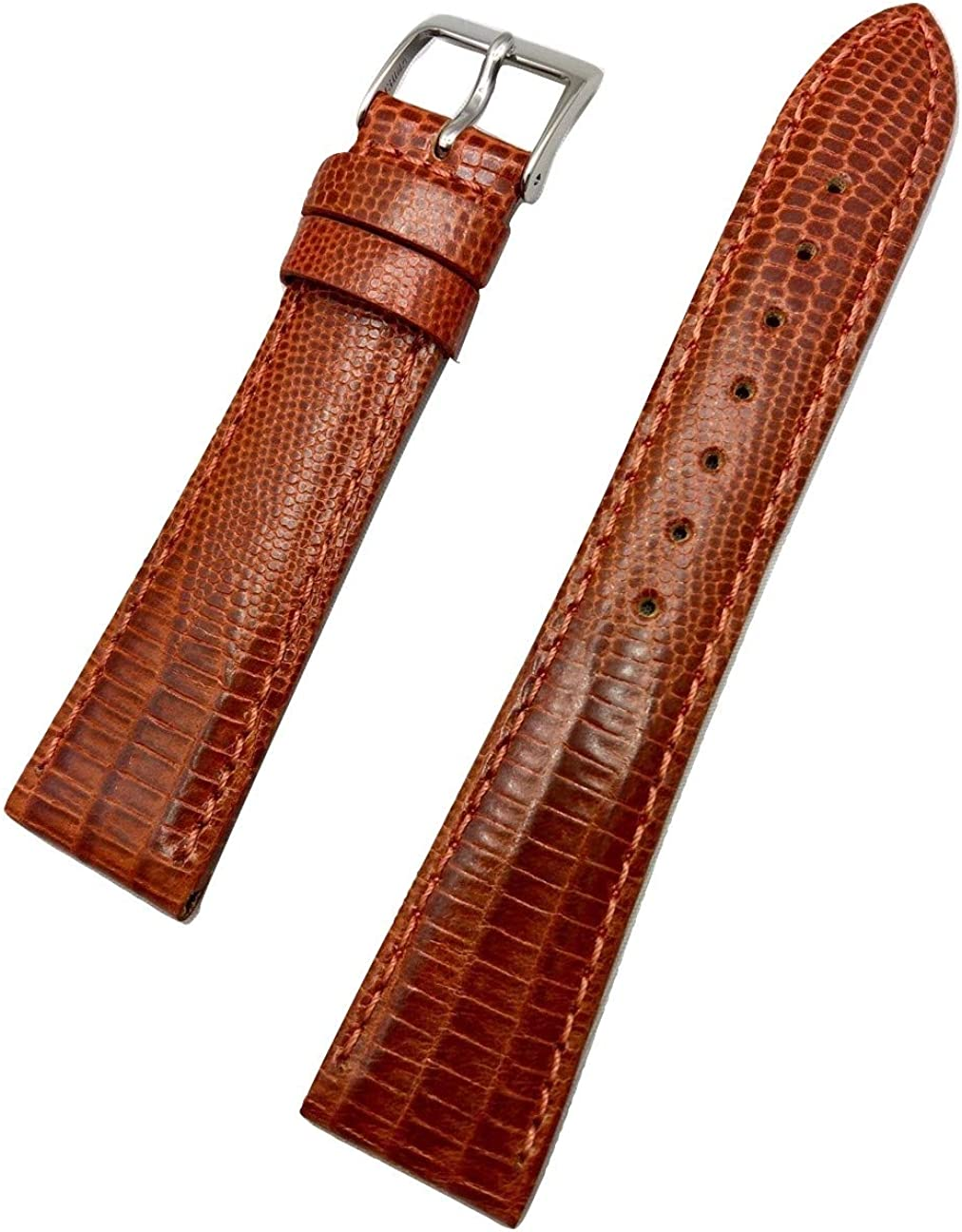 20mm Bronze/Honey Brown Genuine Leather Watch Band | Teju Lizard Grained, Lightly Padded Replacement Wrist Strap that brings New Life to Any Watch (Mens Standard Length)