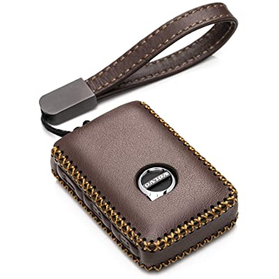 Vitodeco Genuine Leather Smart Key Fob Case Cover Protector with Leather Key Chain for 2020-2020 Volvo XC60, XC90, S90, V90 (4-Button, Brown): Automotive