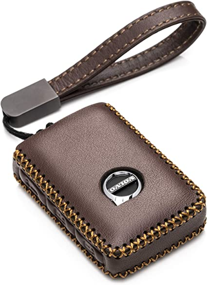 High-quality Leather Car Key Holder Keychain Ring Case Bag Shell For VOLVO