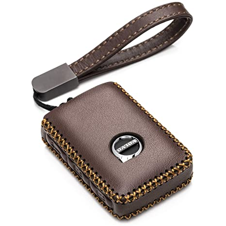 Vitodeco Genuine Leather Smart Key Fob Case Cover Protector with Leather Key Chain for 2019 Volvo XC60, XC90, S90, V90, 2020 Volvo XC40 (4-Button, ...
