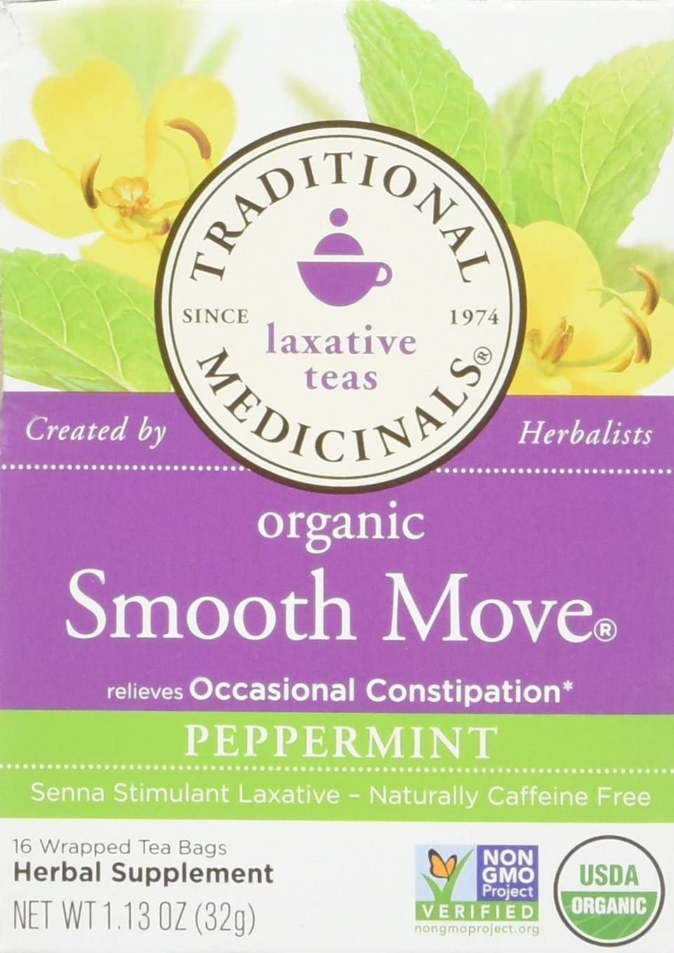 Traditional Medicinals Organic Smooth Move Peppermint Herbal Tea - 16 Tea Bags (Pack of 2)