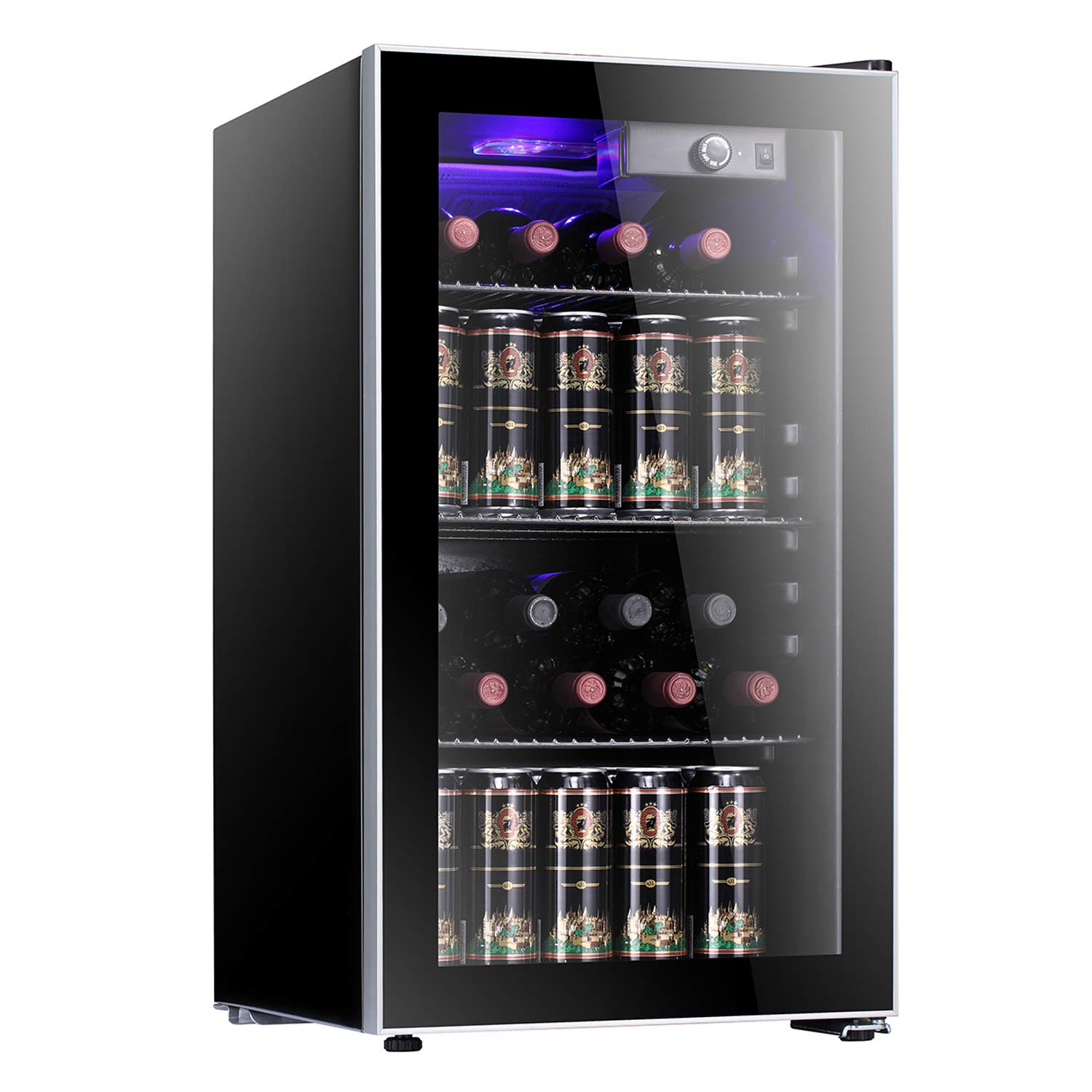 Tavata 26 Bottle Wine Cooler-Freestanding Single Zone Fridge and Cellar Chiller for Red and White Wine Quiet Wine Refrigerator with UV Protection Glass Door,Compressor Refrigeration for Counter Top
