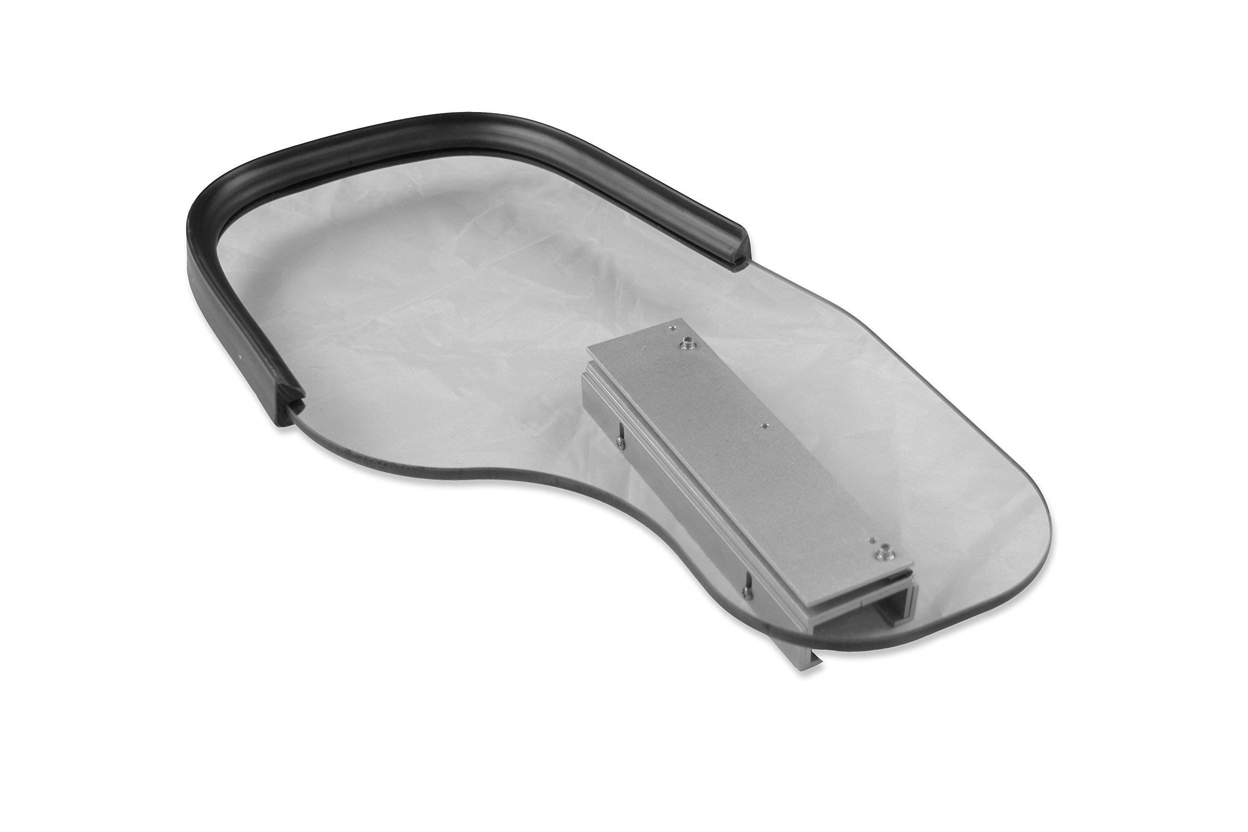 Rehabilitation Advantage Polycarbonate Wheelchair Half Tray with Rubber Rim - Flip Away, Right