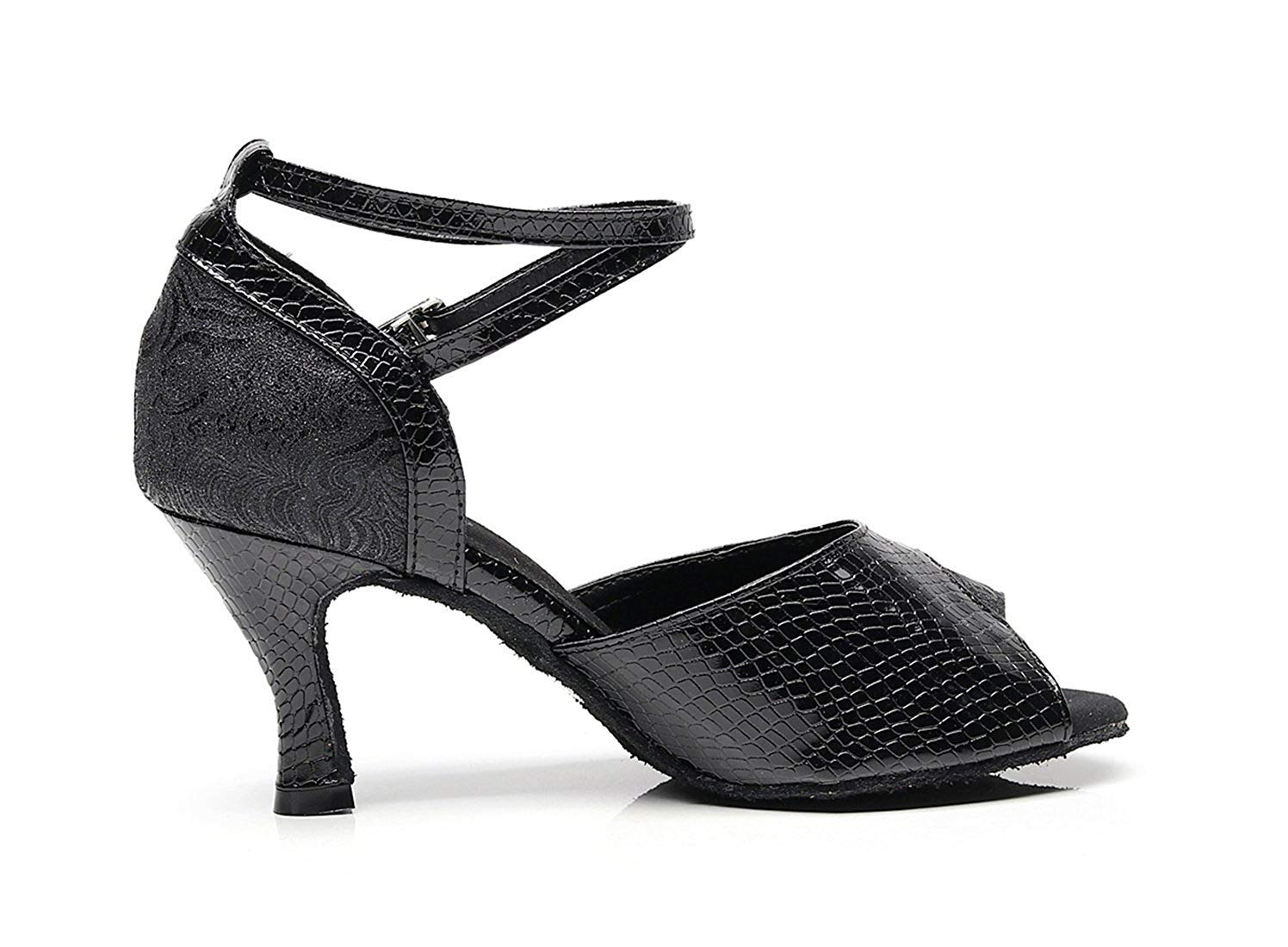 Damen Handgemachte Mode Knöchelriemen Schwarz Synthetische Latin Salsa Salsa Latin Ballroom Tanzen Sandalen UK 7 5 (Farbe   Gold-4  Heel Größe   -) aa7e81