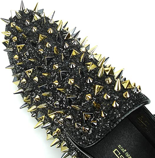 Men/'s Fiesso Black Glitter with Gold Spikes Slip On Smoking Shoes  FI 7239