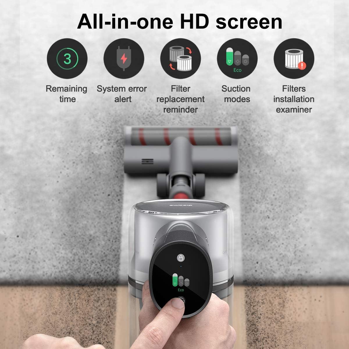 Dreame T20 Akku-Staubsauger leistungsstarke Saugleistung von 25.000 Pa Arbeitszeit bis zu 70 Minuten Akku-Handstaubsauger Ger/äuscharm Intelligenter Vollfarbbildschirm