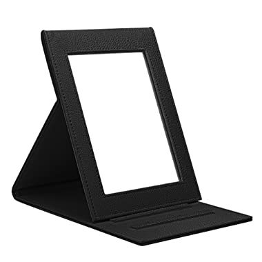 Fintie Portable Folding Vanity Makeup Mirror, Slim PU Leather Folding Compact Makeup Tabletop Travel Cosmetic Mirror with Standing - Black