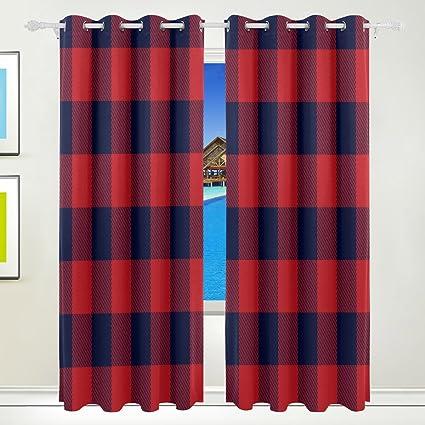 Wozo Black Red Buffalo Plaid Window Curtain Panels Drape 84 X 55