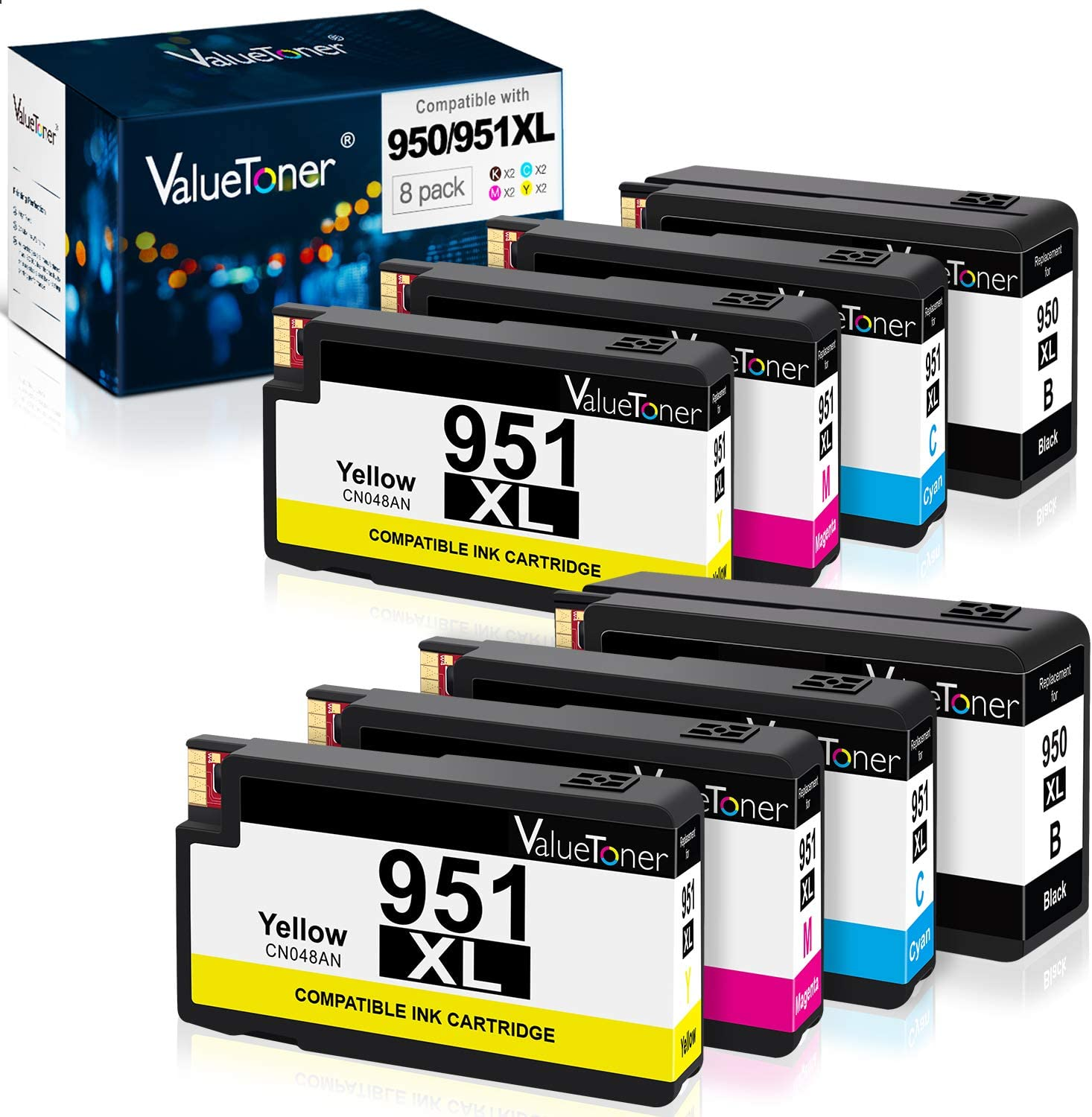 Valuetoner Compatible Ink Cartridge Replacement for HP 950XL 951XL 950 XL 951 XL High Yield for Officejet Pro 8600 8610 8100 8615 8620 8630 8660 251dw 8 Pack (2 Black,2 Cyan,2 Magenta,2 Yellow)