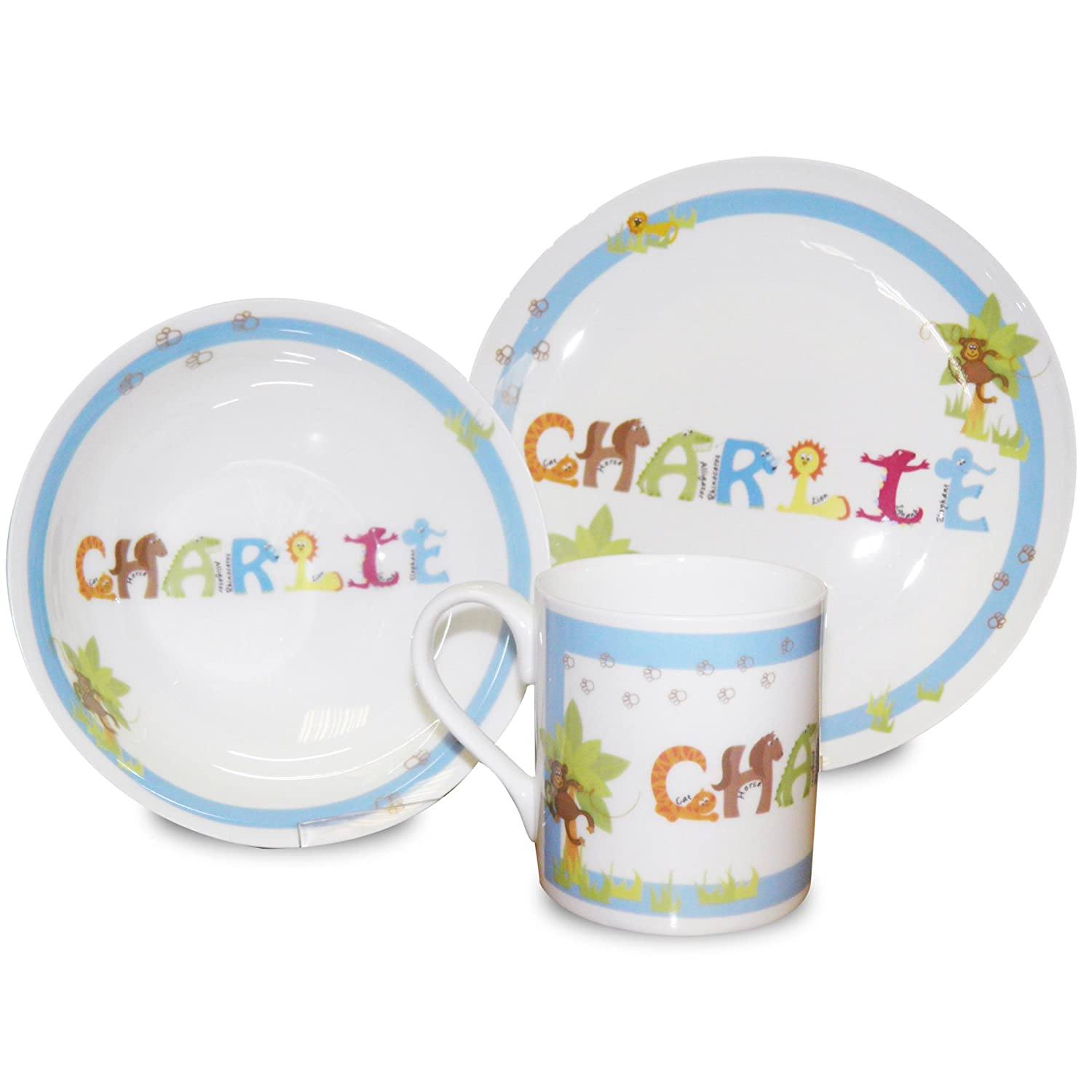 Personalised Animal Kids Bone China Breakfast Set for Boys includes Plate Bow... Amazon.co.uk Kitchen \u0026 Home  sc 1 st  Amazon UK & Personalised Animal Kids Bone China Breakfast Set for Boys includes ...