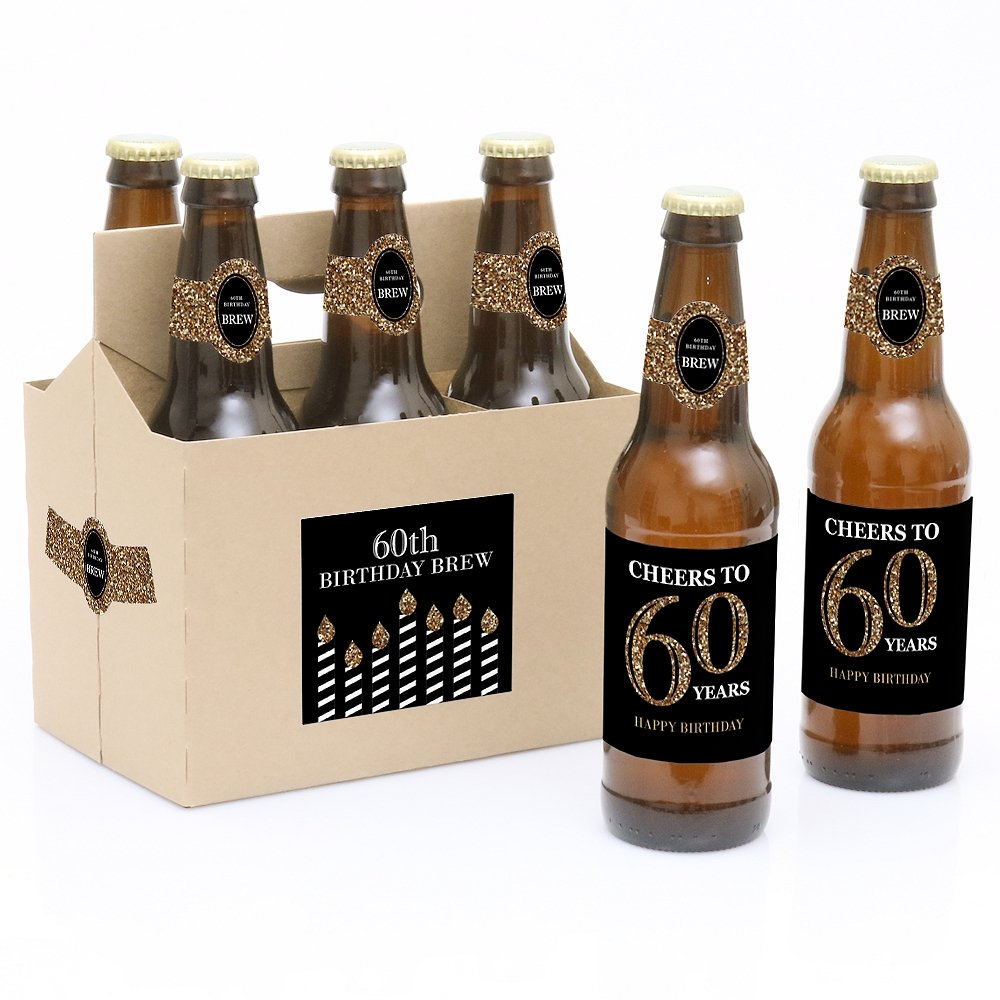 Adult 60th Birthday - Gold - 6 Birthday Party Beer Bottle Labels and 1 Carrier Big Dot of Happiness LLC BT8047btl