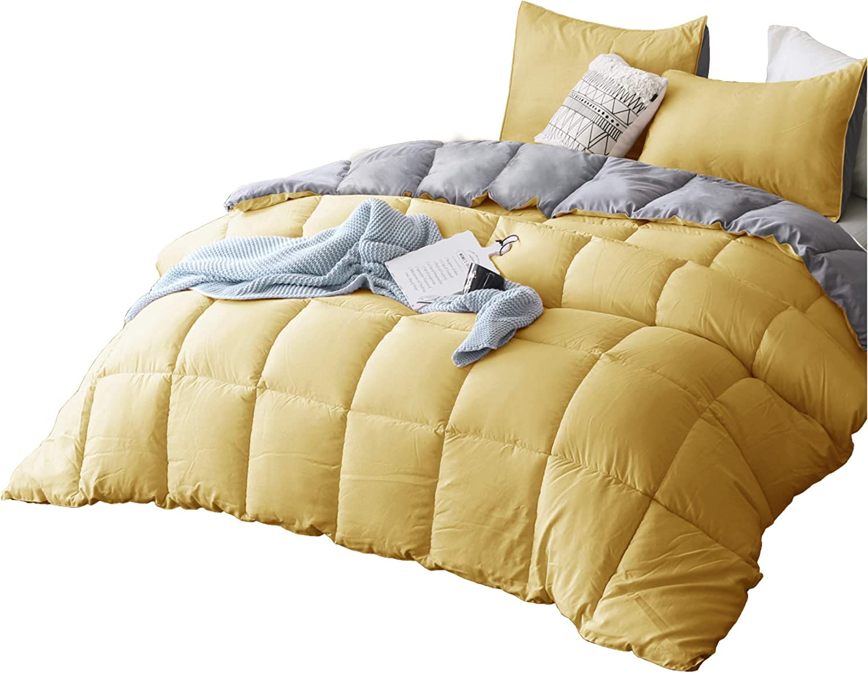 Kasentex All Season Down Alternative Quilted Comforter Set Reversible Ultra Soft Duvet Insert Hypoallergenic Machine Washable Yellow Grey King Set Kitchen Dining Amazon Com