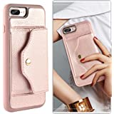 """iphone 8 plus case, iphone 7 plus wallet case, LAMEEKU Shockproof iphone 8 Plus Wallet Case with Credit Card Holder Slot Leather Case, Protective Cover for Apple iPhone 7 Plus/8 Plus 5.5"""" Rose Gold"""