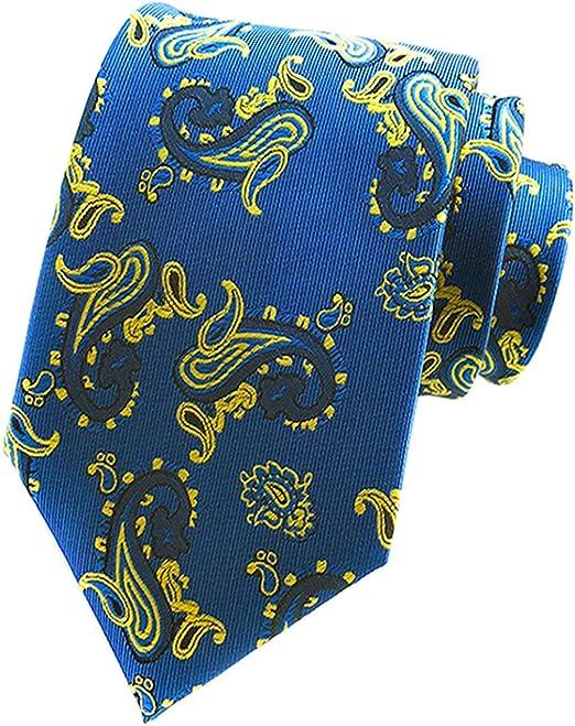 New Classic Paisley Gold Yellow Blue JACQUARD WOVEN 100/% Silk Men/'s Tie Necktie