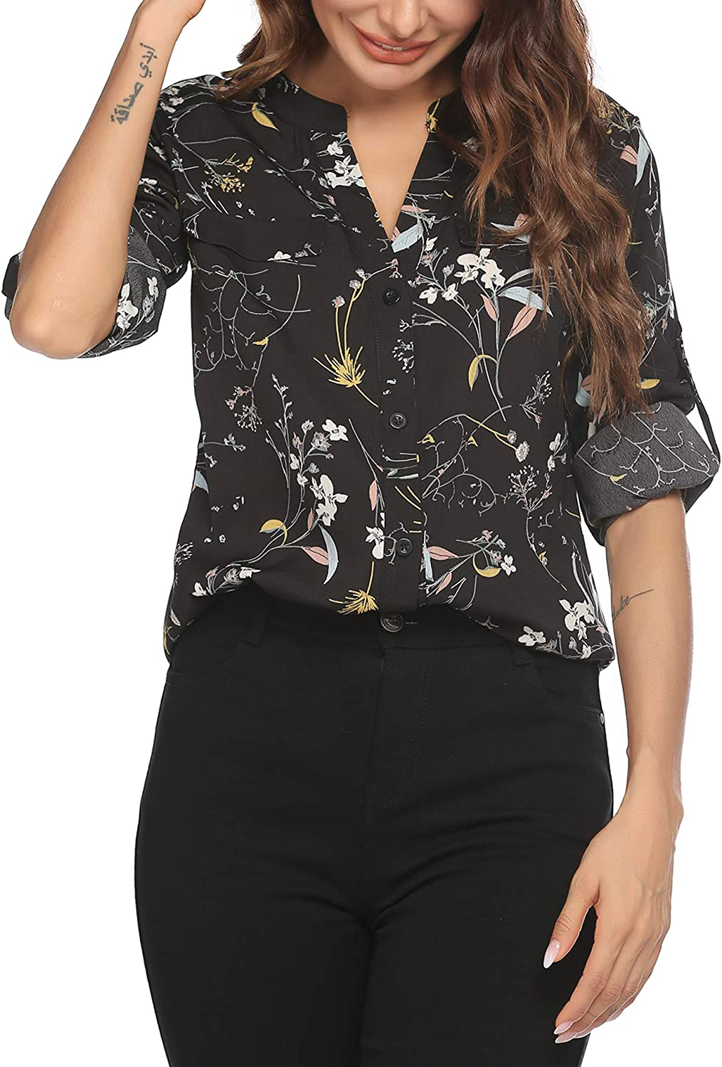 SoTeer Women Button Down Chiffon Shirts Floral Printed Henley V Neck Blouses Long Sleeve Tunic Tops