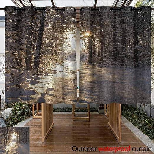AndyTours Cortina para Puerta corredera, para Invierno, Navidad, temática de Nieve, Arte Digital, Casas Reflejos en el mar, aislada con Cortinas con Ojales para Dormitorio: Amazon.es: Jardín