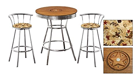 Awesome Amazon Com Custom Oak Bar Table Set Features A Texas Star Onthecornerstone Fun Painted Chair Ideas Images Onthecornerstoneorg
