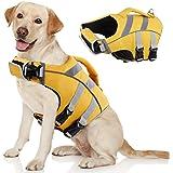 Kuoser Dog Life Jacket with Reflective Stripes, Adjustable High Visibility Dog Life Vest Ripstop Dog Lifesaver Pet Life Prese