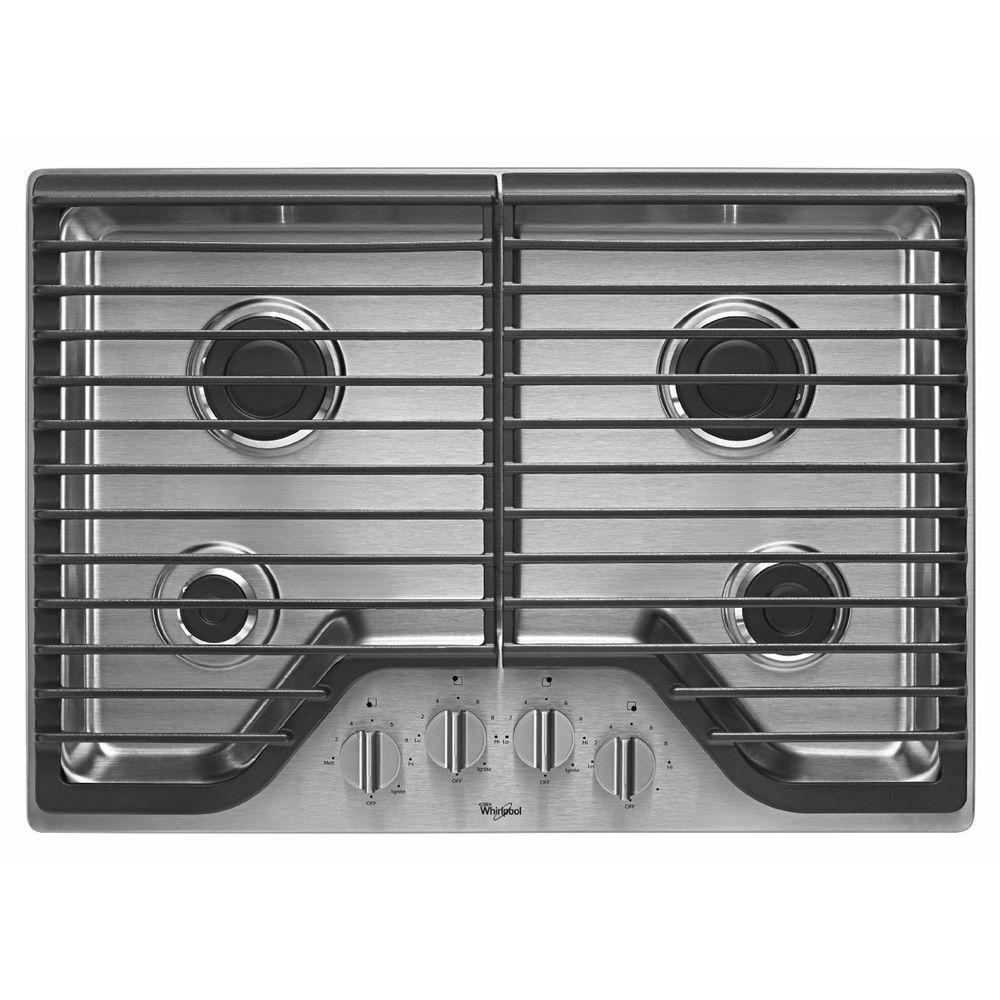 "Whirlpool 30"" Stainless Steel Gas Cooktop"