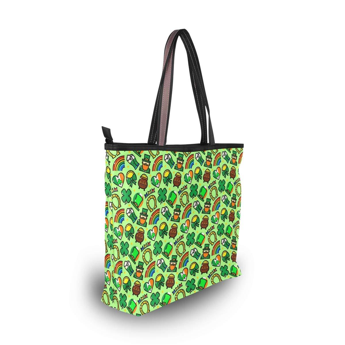Women Handle Green St Patricks Day Satchel Handbags Tote Purse Shoulder Bag Big Capacity Handbag