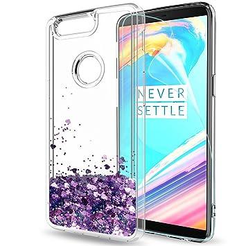LeYi Funda OnePlus 5T Silicona Purpurina Carcasa con HD Protectores de Pantalla, Transparente Cristal Bumper Telefono Gel TPU Fundas Case Cover para ...