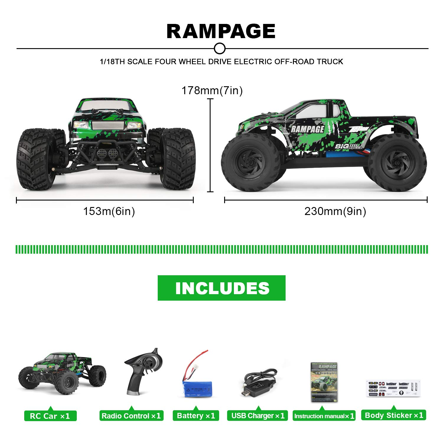 HBX 1:18 Scale All Terrain RC Car 18859E, 30+MPH High Speed 4WD Electric Vehicle with 2.4 GHz Radio Controller, Waterproof Off-Road Truck Included Battery and Charger by BBM HOBBY (Image #2)