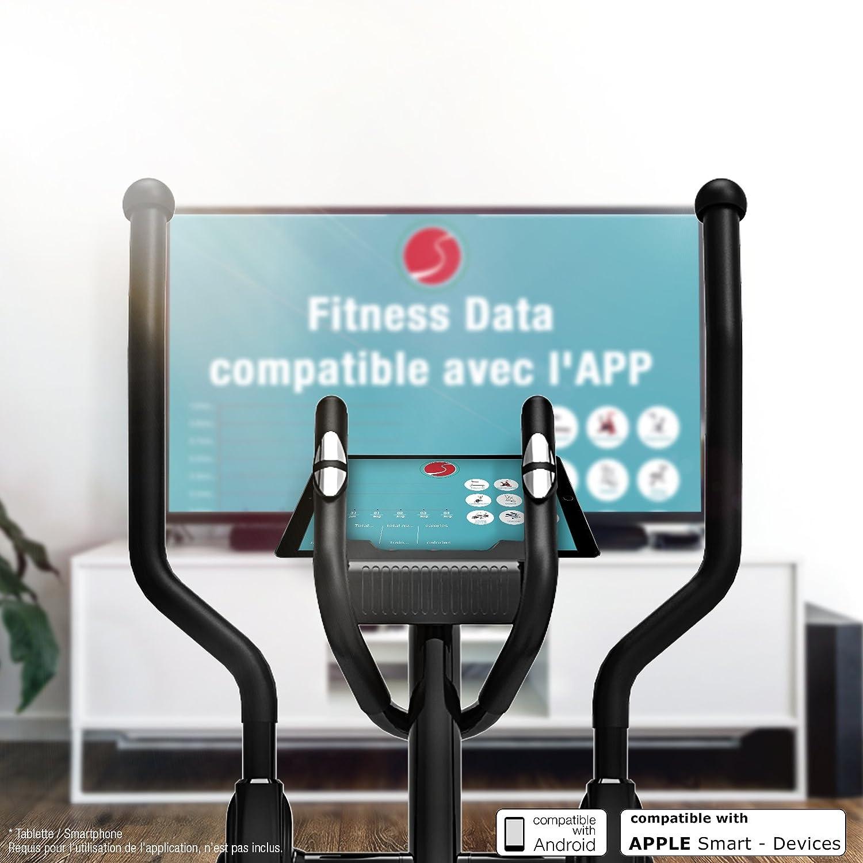 Sportstech CX605 Professional Fitness-Bicicleta elíptica con ergómetro con control de App Smartphone Google Street View, masa de inercia HRC 18 KG, 32, ...