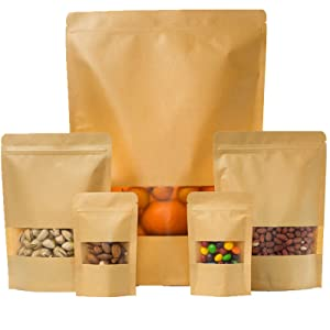 Kraft Zip Lock Seal Paper Bags Stand Up Pouches 100pcs ( 3.5 x 5.5in ) Brown Food Storage Paper Bags with Matte Window for Storing