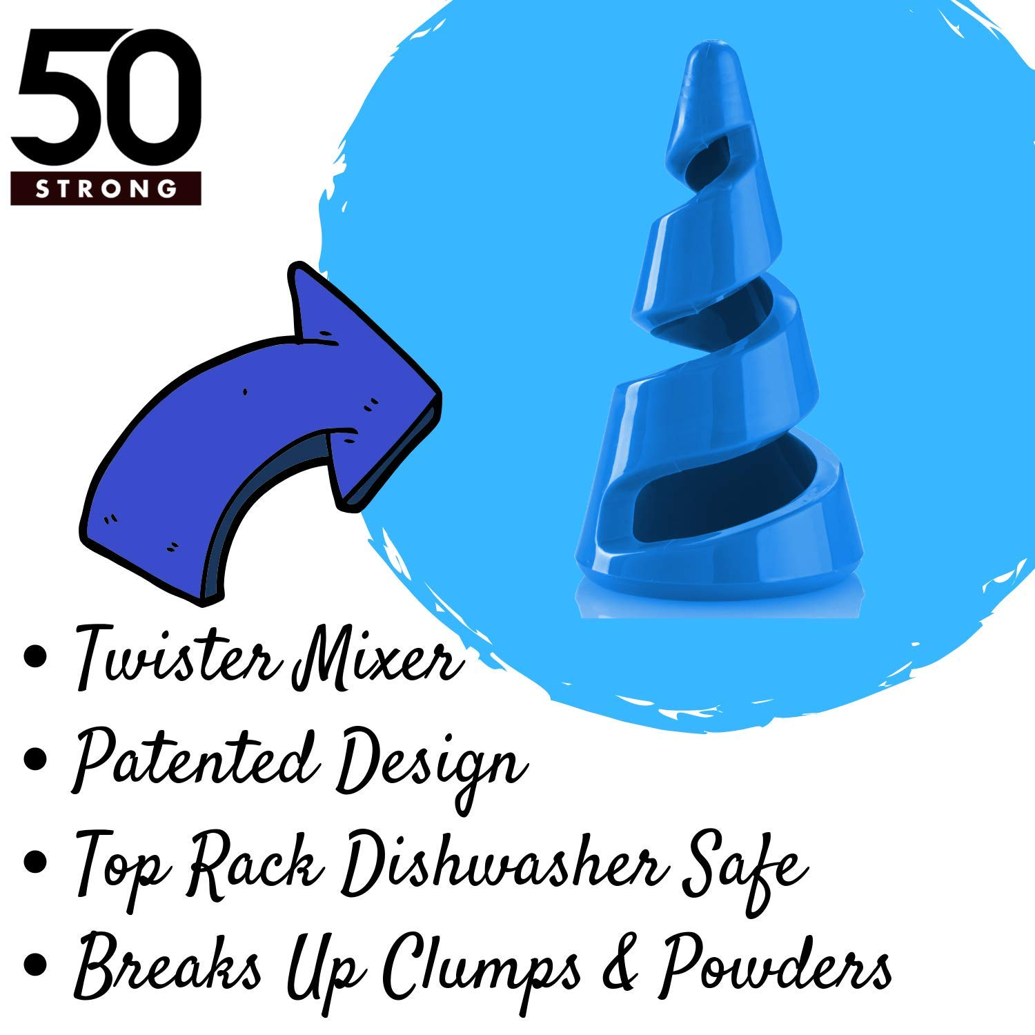 BPA Free Bottles with 360 Degree Premium Prints Stain /& Odor Resistant Shake Cup with Measurements 50 Strong Twister Mixer Tritan Protein Shaker Bottle 30 oz Made in USA