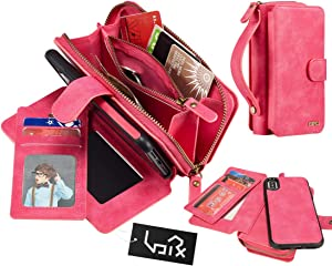 Urvoix for iPhone Xs Max Case, 2 in 1 Premium Leather Zipper Wallet Handbag Detachable Magnetic Case Cover with Clutch Strap Flip Card Holder for iPhone Xs Max(6.5-inch Display), Pink