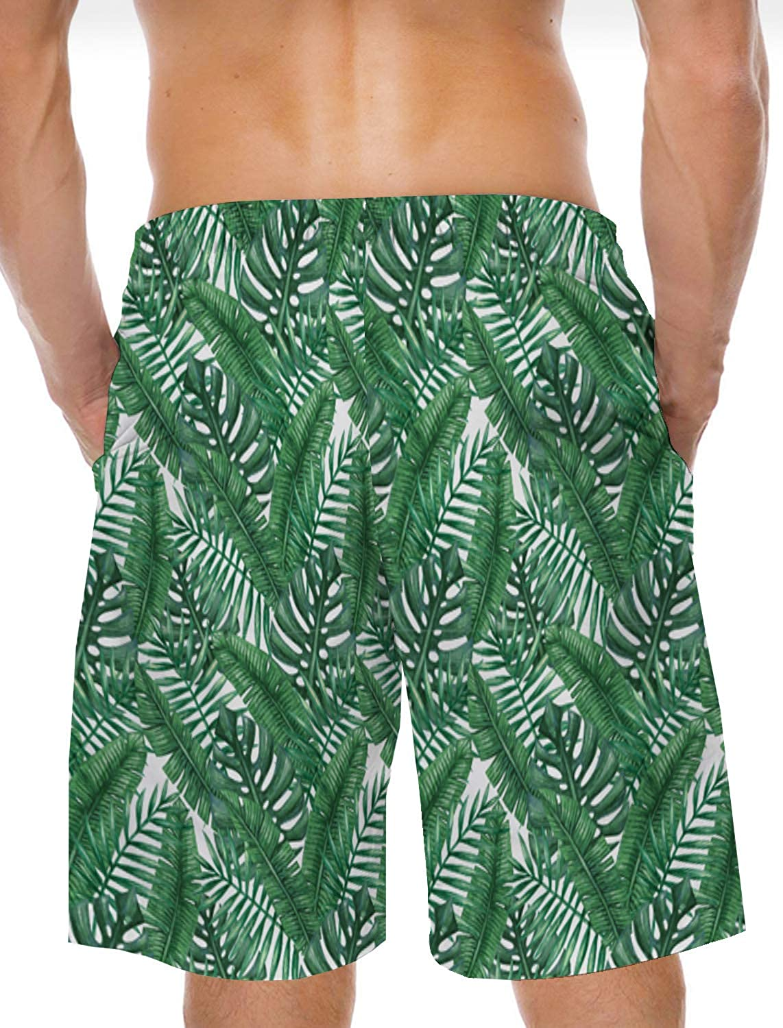 Mens Swim Trunks 5 Board Shorts Tropica Palm Leaf Printed Quick Dry Beach Shorts with Lining Mesh for Summer Holiday