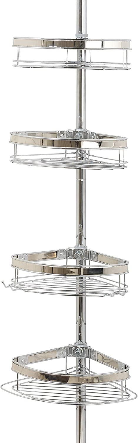 Zenna Home Pole Shower Caddy, Chrome