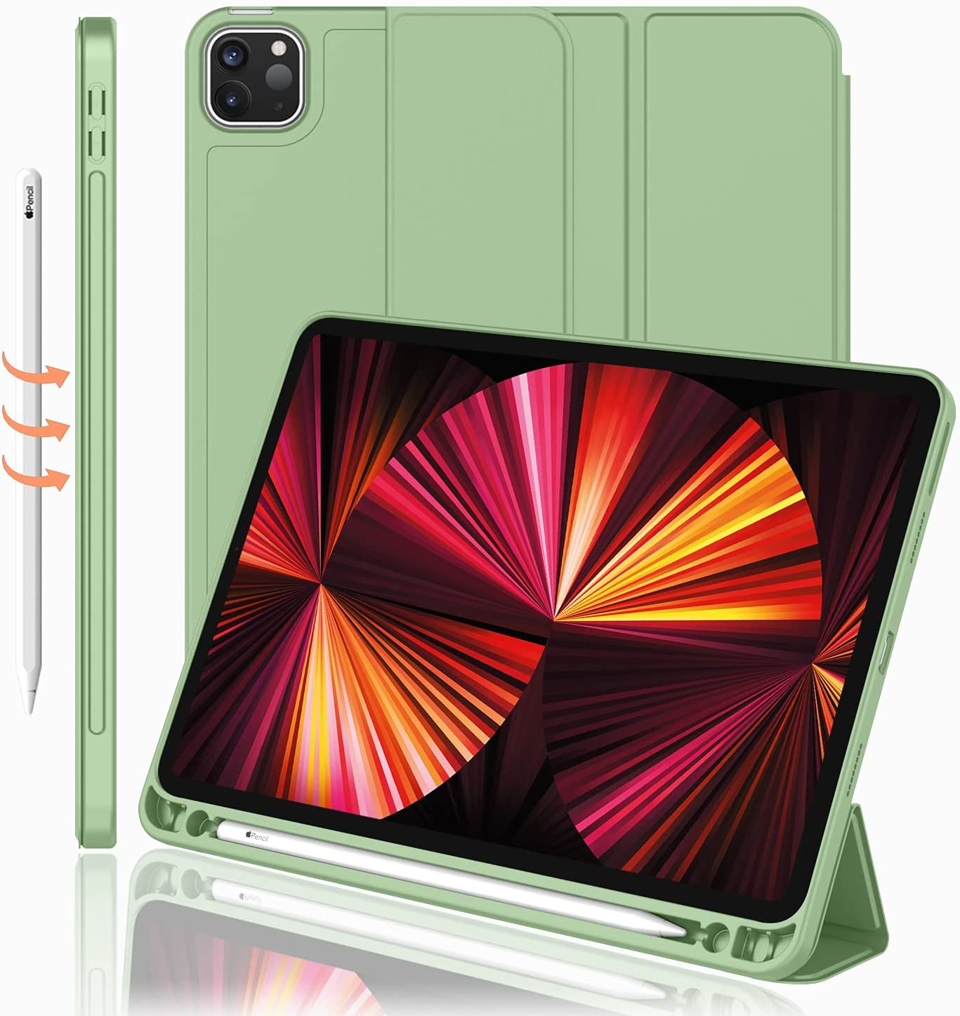 iMieet New iPad Pro 11 Inch Case 2021(3rd Gen) with Pencil Holder [Support iPad 2nd Pencil Charging/Pair],Trifold Stand Smart Case with Soft TPU Back,Auto Wake/Sleep(Matcha Green)