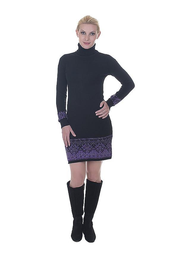 XS-L von Natural Style 100/% Wolle Gr Exklusives Langarm Rollkragen Strickkleid