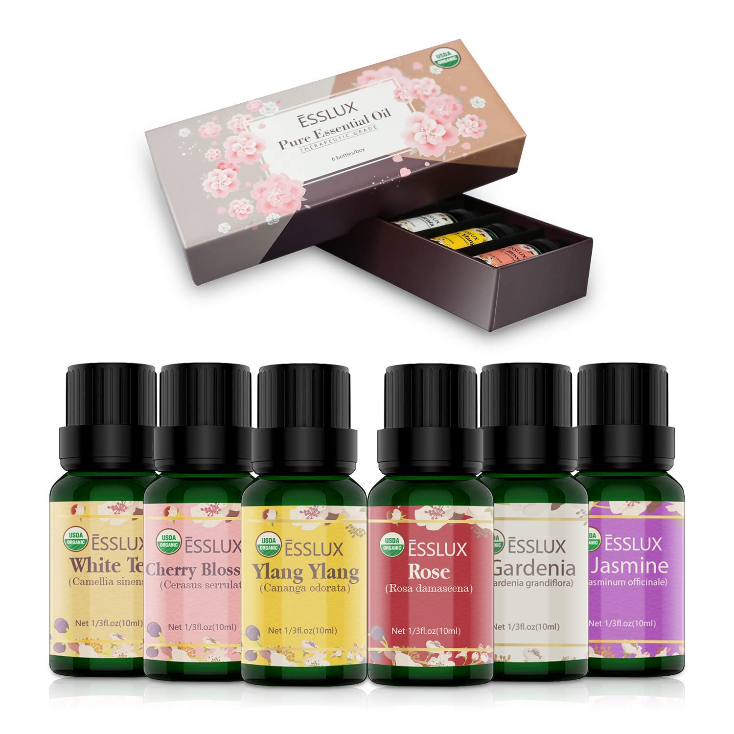 ESSLUX Floral Essential Oils Set, 100% Pure Aromatherapy Oil Gift Set for Diffuser & Massage, Rose, Ylang Ylang, Jasmine, Gardenia, Cherry Blossom, White Tea Oil, 6x10ml (Multicolor)