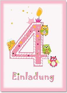 12 Einladungskarten Kindergeburtstag Zum 4. Geburtstag In Rosa Mit Eulen    Geburtstagseinladung Mit Eule Für