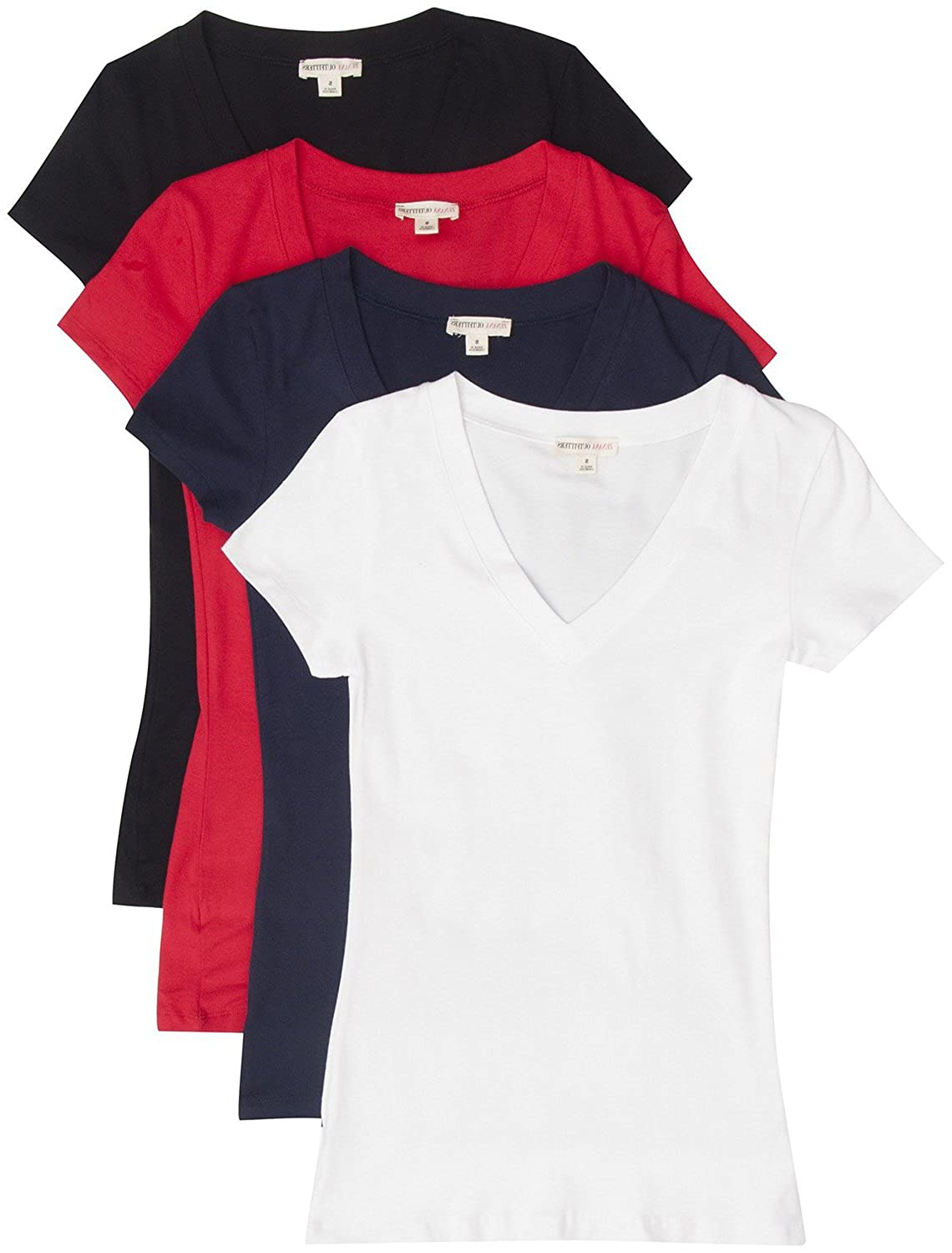 2bfc2eeecdf9 TL Women's Comfy Basic Cotton Short Sleeves Solid V-neck T-shirts, 4  Pack-bk / Wh / Nv / Red, Small at Amazon Women's Clothing store: