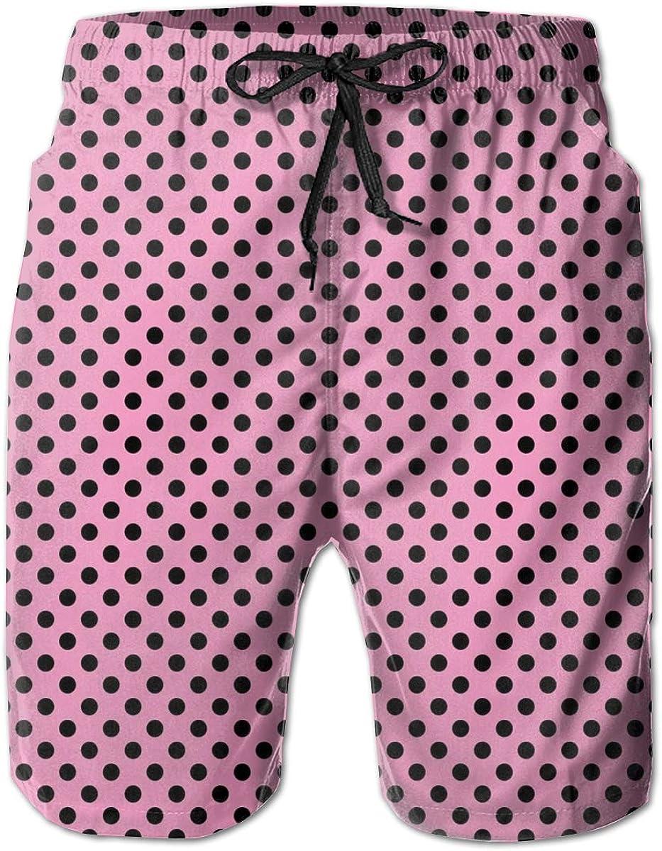 WMDJEG Pink Polka Mens Summer Beachwear Sports Running Swim Board Shorts Mesh Lining