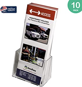 Clear-Ad - Acrylic Trifold Brochure Holder - Rack Card Display - Pamphlet Stand - LHF-S100 (Pack of 10)