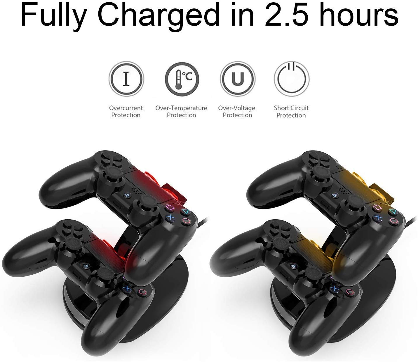 PS4 Controller Charger, PS4 Controller charging Station Wireless Charger with USB Charging Cable【Advanced Version】, PS4 Controller Charging Dock for PS4/PS4 Pro /PS4 Slim Controller