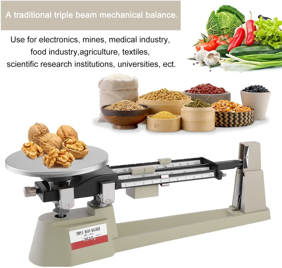 Capacity 610g to 2610g 2610gX0.1g Triple Beam Pan Mechanical Triple Beam Balance Scale for Laboratories and Classrooms Stainless Steel Plate Lab Analytical Weighing