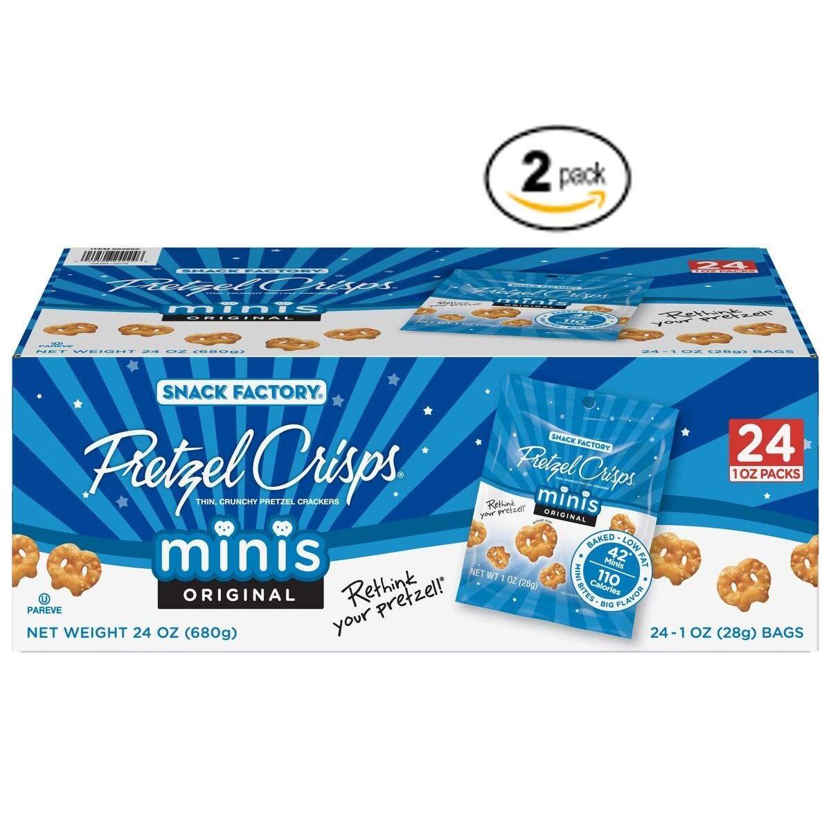 Snack Factory Pretzel Crisps Original Minis, Single-Serve 1 Oz, 24 C (Pack of 2) by Snack Factory