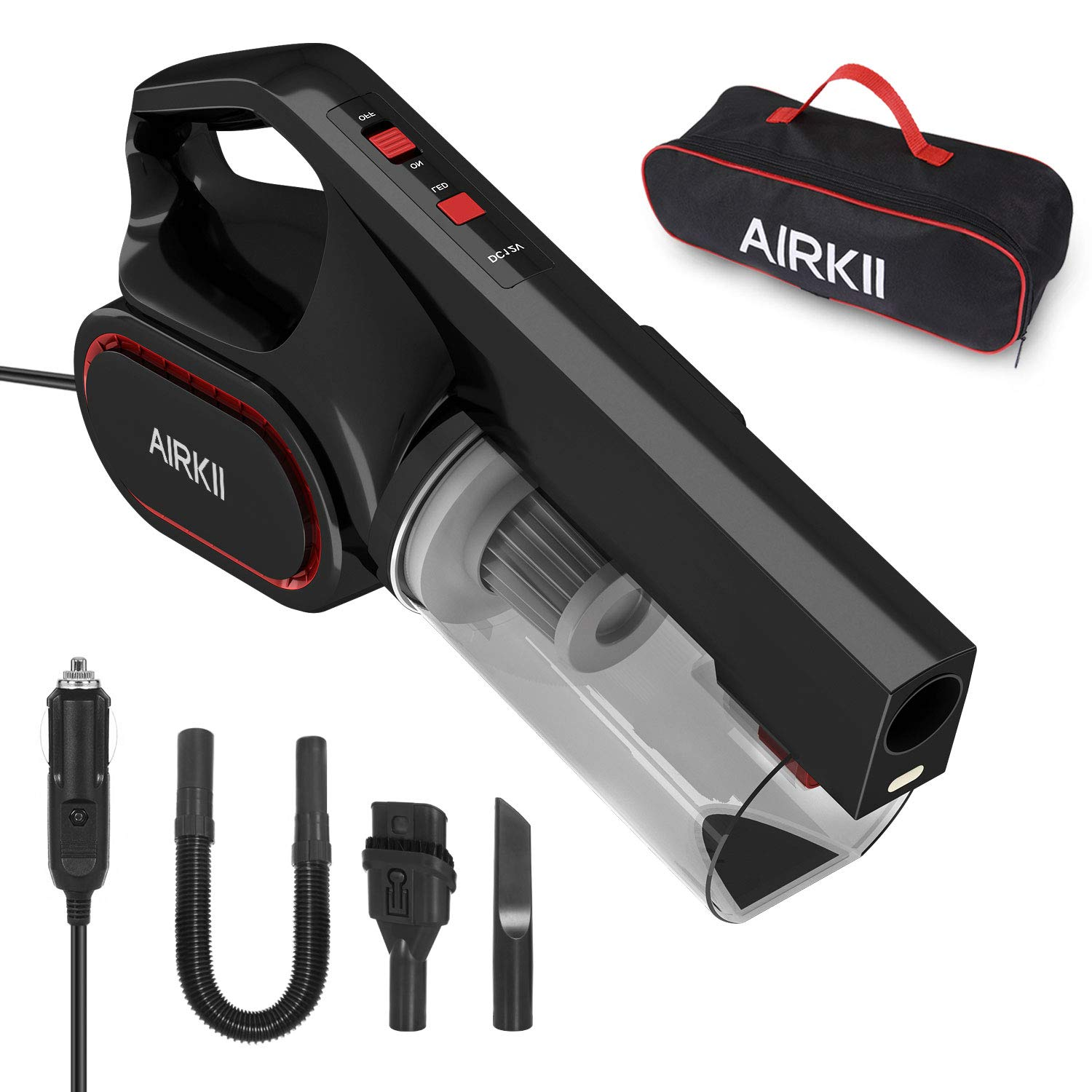 AIRKII Corded Car Vacuum Cleaner High Power 4500PA Washable Stainless Steel HEPA Filter DC 12V 14.8ft Handheld Auto Vacuum Cleaner Car(Powerful Suction)
