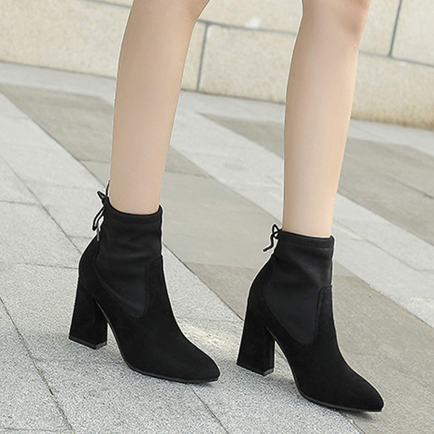 Whozx Womens Suede Ankle Boot Black