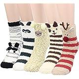 Womens 3D Animals Slipper Socks - 5 Pairs Girls Winter Cute Novelty Crew Fuzzy Fluffy Socks Value Pack