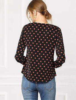 Allegra K Blusa Túnica Camisa Lunares Vintage Manga Larga Cuello De Volantes para Mujer Negro Rojo XS: Amazon.es: Ropa y accesorios