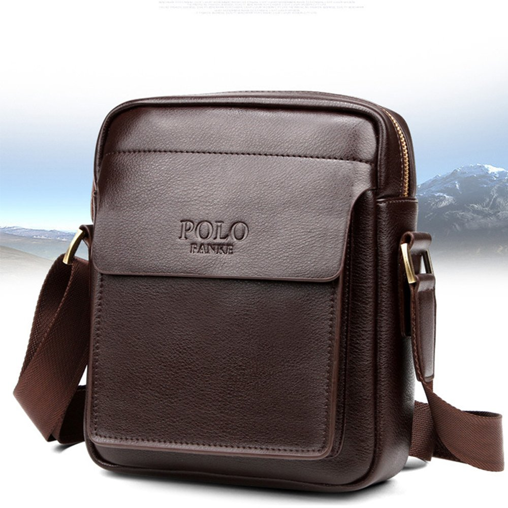 Polo Homme En Cuir V/éritable Apple iPad Sac Messenger Sac /À Bandouli/ère Casual Crossbody Business Sac /À Main Porte-Documents Brun Noir