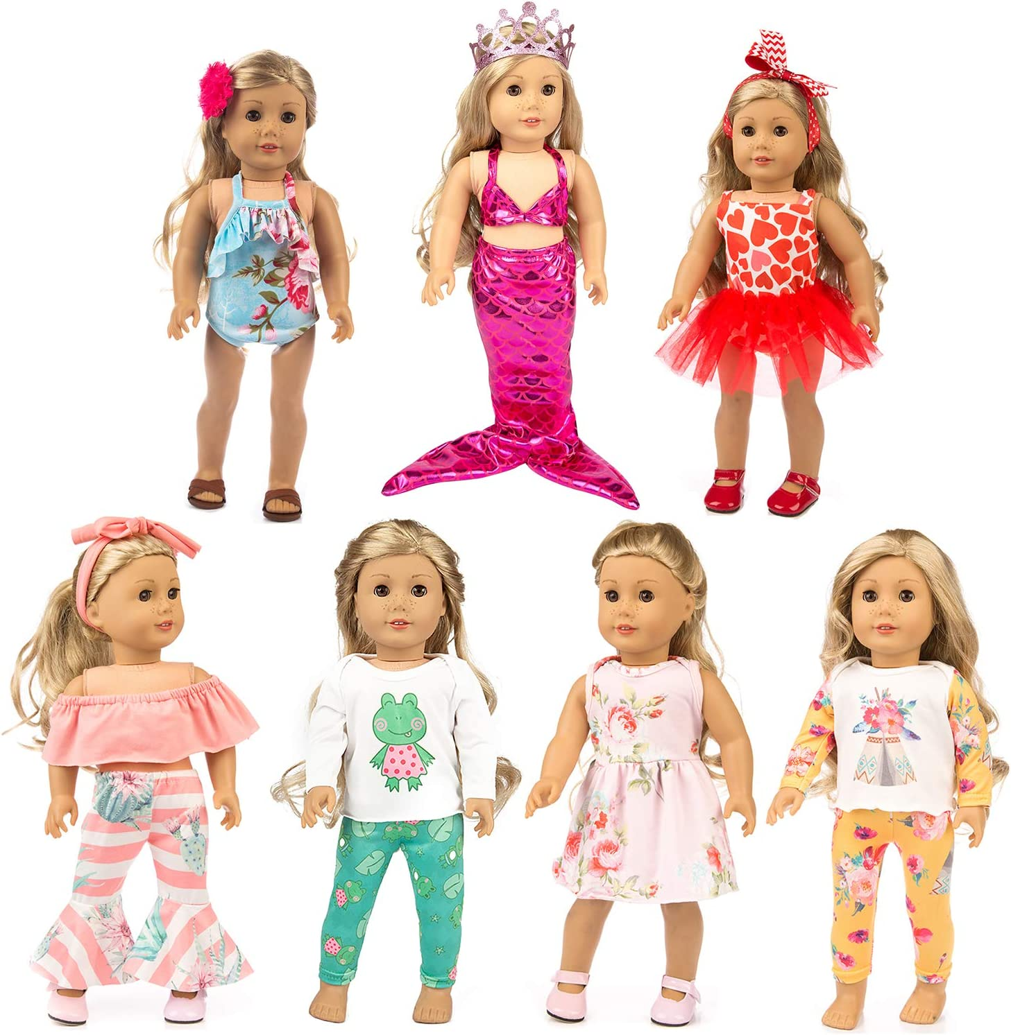 XFEYUE 7 Sets 18 inch Doll Clothes and Accessories for American 18 inch Girl Doll, Mermaid Costumes and Various Styles of Doll Clothes for Child Birthday Gifts