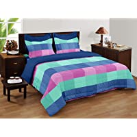Bianca Lorena Cotton Double Bedsheet with 2 Pillow Covers (Queen, Multicolour)